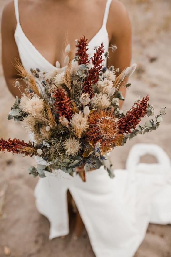 Bouquet de outono com flores secas