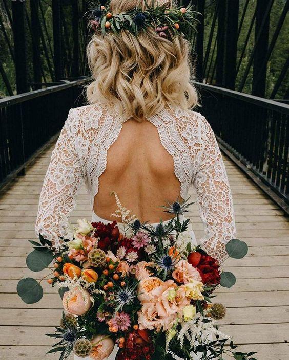 Vestido de Noiva de Outono Rendado