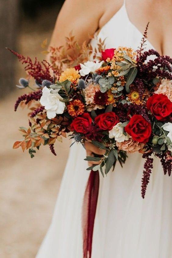 Bouquet de Outono em tons de vermelho