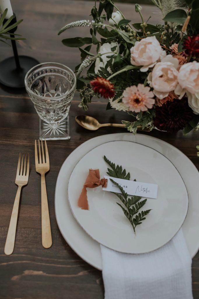 Pratos mesa de cerimónia de casamento de Outono