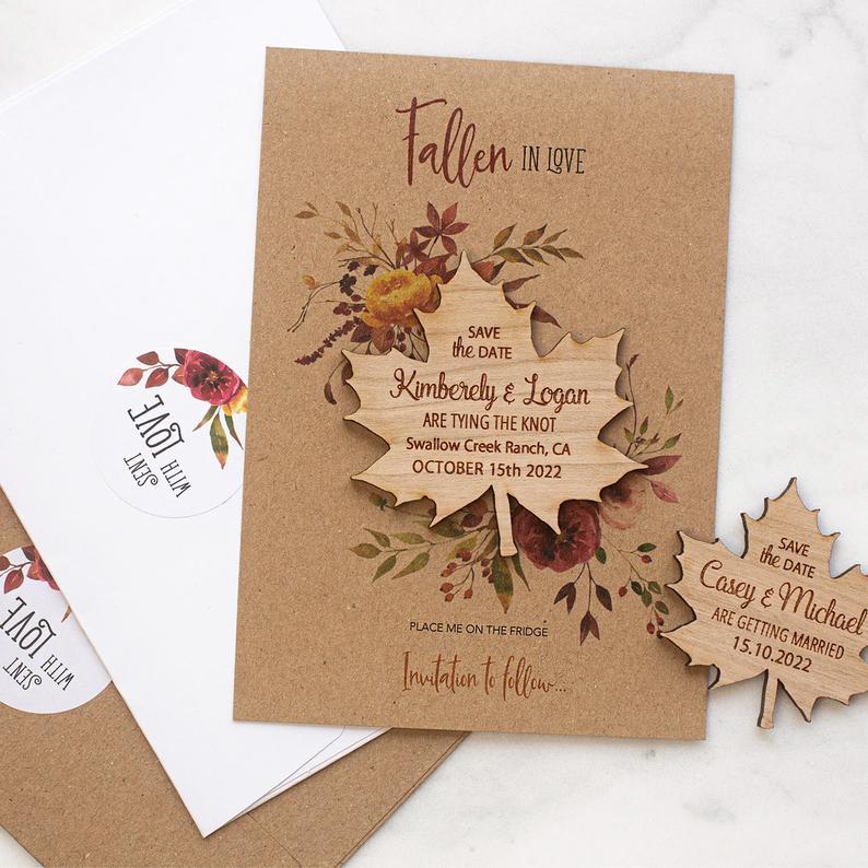 Convite de casamento de outono  em kraft