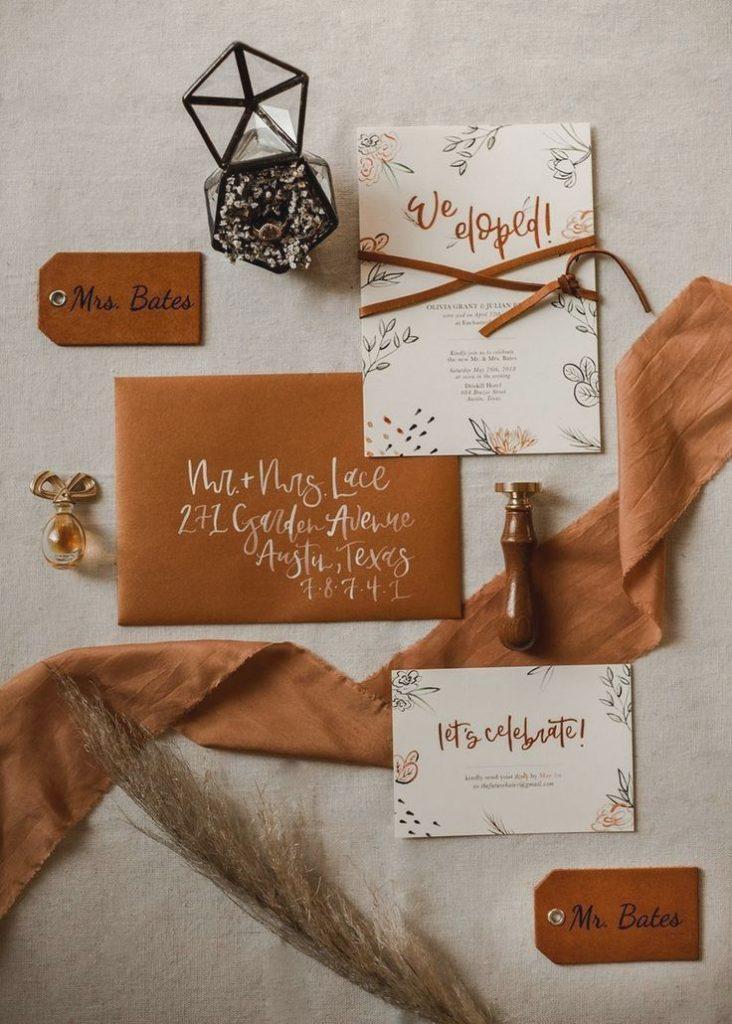 Convites de casamento de outono em laranja