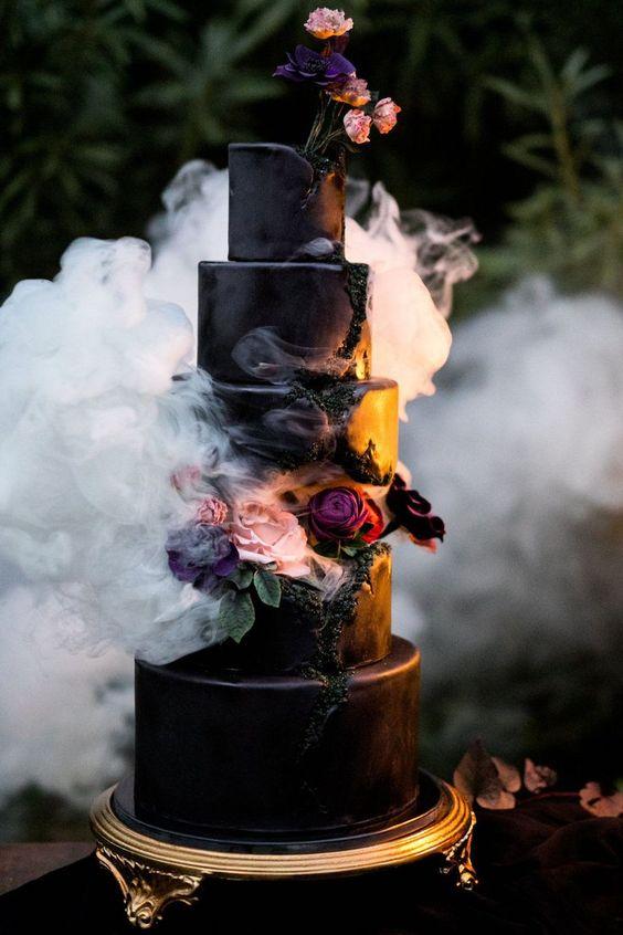 Bolo de casamento de Halloween