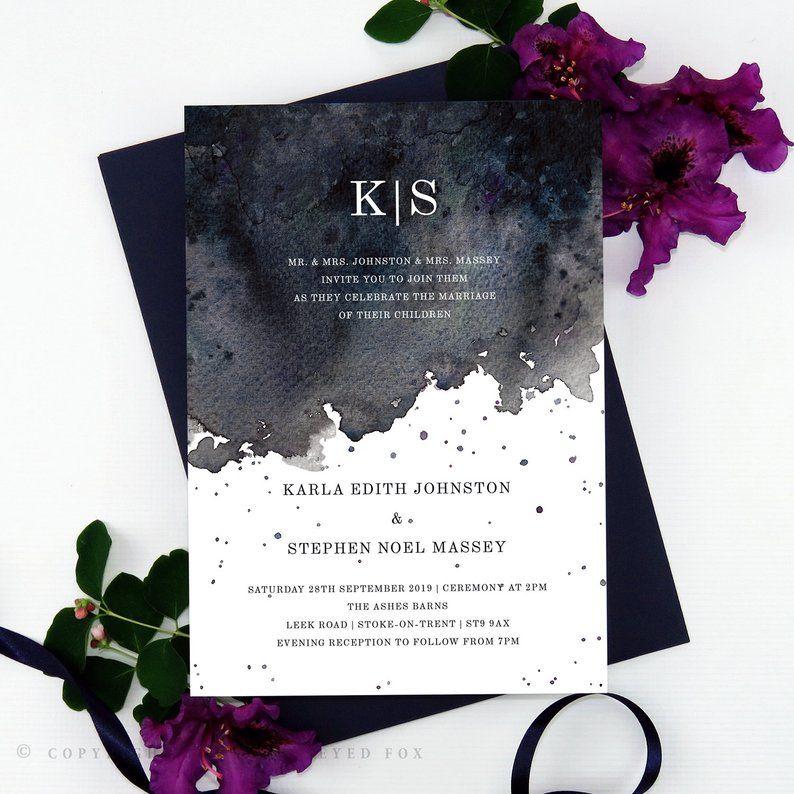 Convite em tons de preto para casamento de Halloween