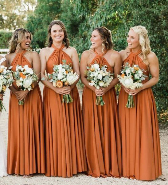 vestidos de damas-de-honor em laranja escuro