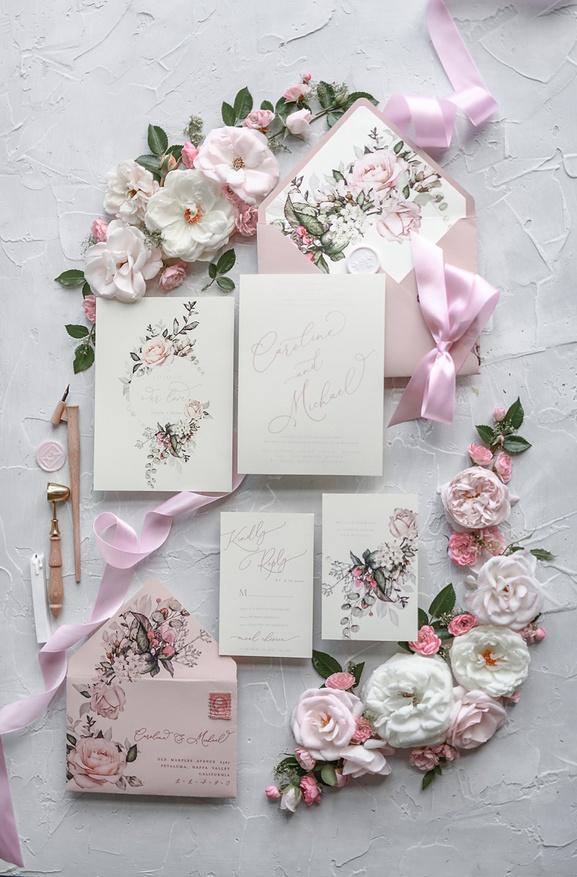 Convite de Casamento Romantico Floral