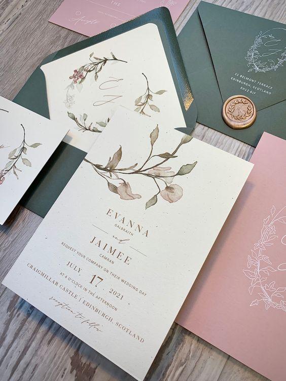 Convites em rosa velho e verde sálvia
