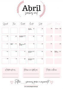Calendário de Abril